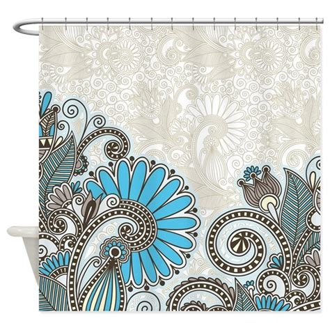 turquoise paisley curtains paisley shower curtain in turquoise and brown by