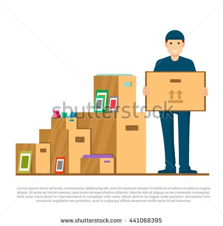 Moving Greet Fashion House delivery blue holding stock vector 567460288