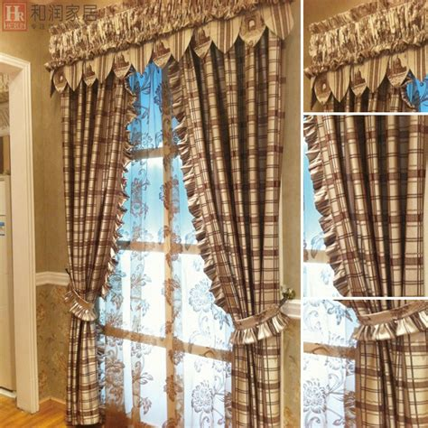 plaid curtains for living room country feeling semi shade stripes plaid living room