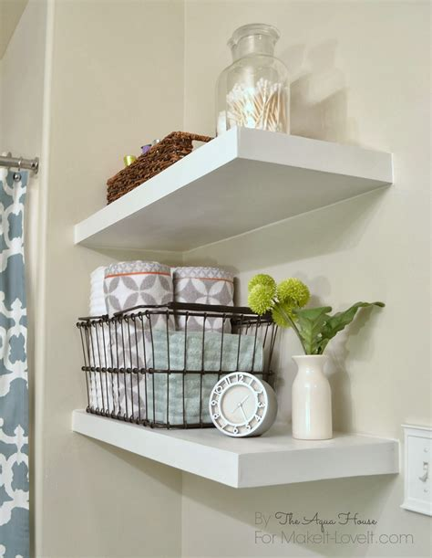 White Shelves For Bathroom Saving Spaces Small Bathroom Design Using Simple Diy White Wood Floating Wall Shelving Units In