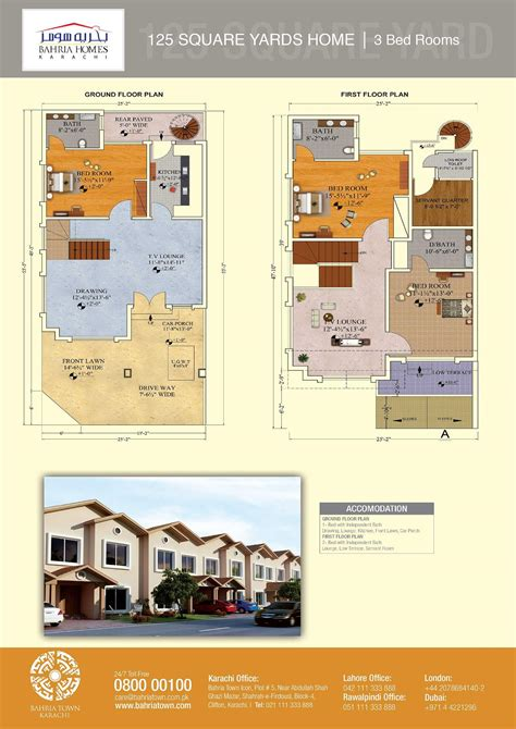 Simple 2 Bedroom House Plans by Floor Plans Of 125 And 200 Sq Yards Bahria Homes Karachi