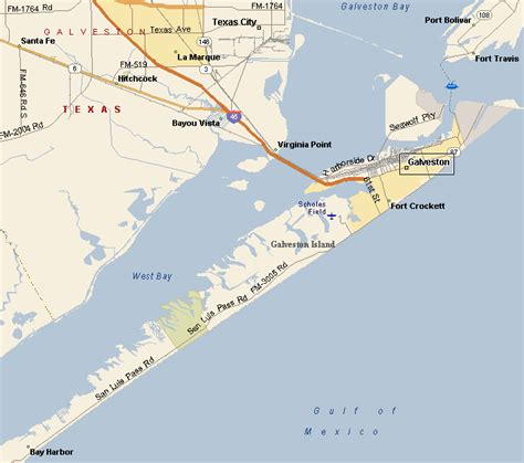 map of texas coast galveston seawall map
