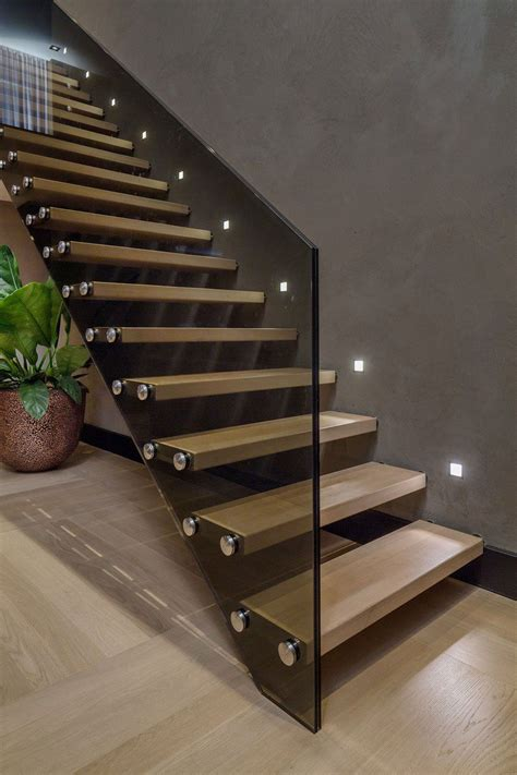 interior contemporary floating wooden sttaircase idea