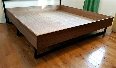 plywood bed frame diy walnut plywood bed frame with welded legs