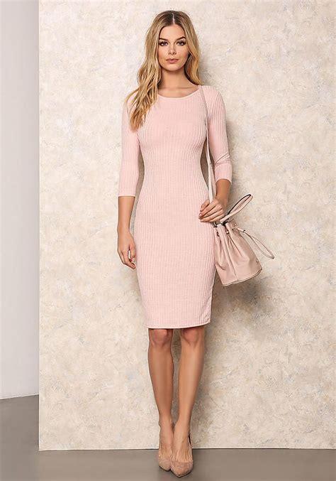 pink ribbed bodycon midi dress bodycon dresses shani