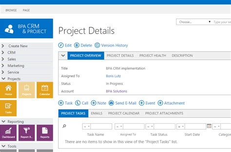 project details bpa crm 2015 project management crm for microsoft