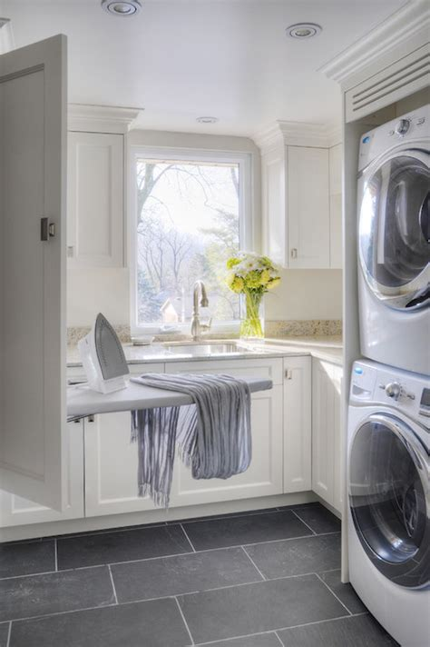 White Laundry Room Cabinets Ironing Board Transitional Laundry Room Benjamin Cloud White Braams Custom