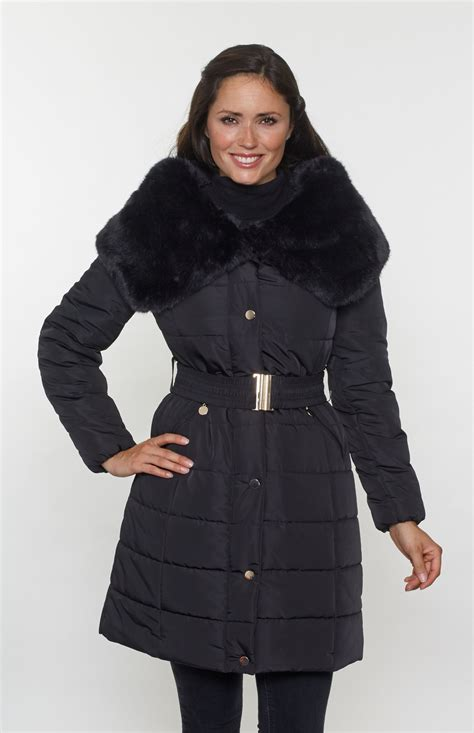 Faux Fur Collar Padded Coat womens faux fur shawl collar padded coat