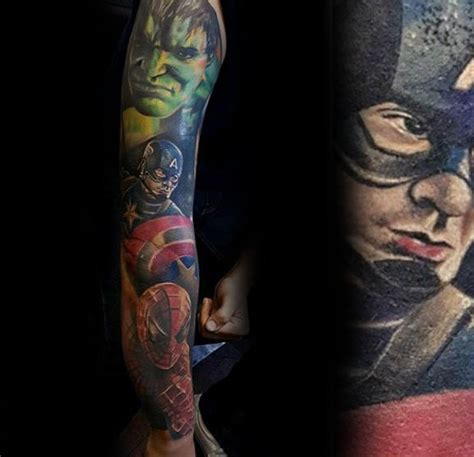 superhero tattoo sleeve 60 marvel tattoos for comic design ideas