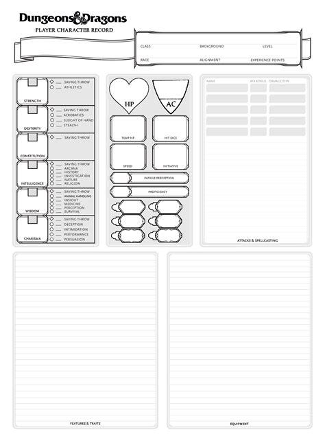 new npc card template 4 xlsx my at a simple character sheet 5e dnd