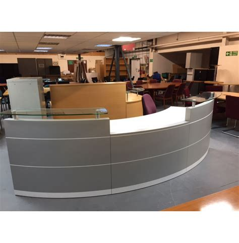 Large Reception Desk Large Reception Desk Large Reception Desk Half Circle Reception Desk Beech Veneer Silver