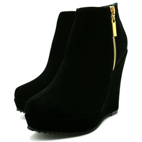 wedge boots wedge heel suede style zip platform ankle boots shoes