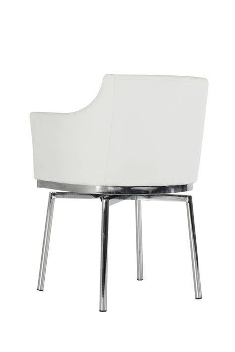 Dining Swivel Chairs Cynthia Swivel Dining Chair White Leatherette Dining Chair
