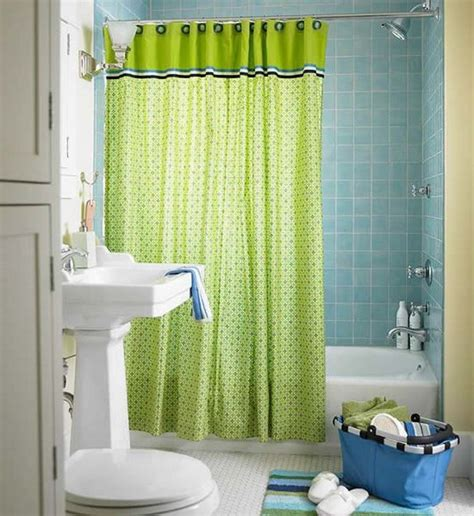 Small Bathroom Shower Curtain Ideas Lime Green Accents Curtain For Small Bathroom Design Idea Using Blue Tiles Wall And Filled