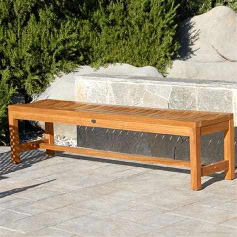 waiting bench teak outdoor patio backless bench titan waiting bench