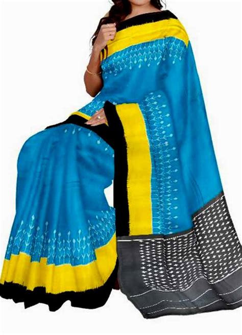 Blouse Ananda pochally ikkat cotton ananda blue color saree