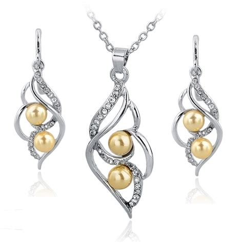 fashion simulated pearl jewelry set gold silver