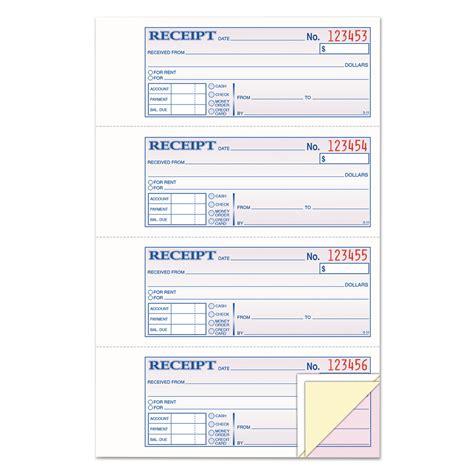 100 mm receipt template receipt book 7 5 8 x 11 three part carbonless 100 forms