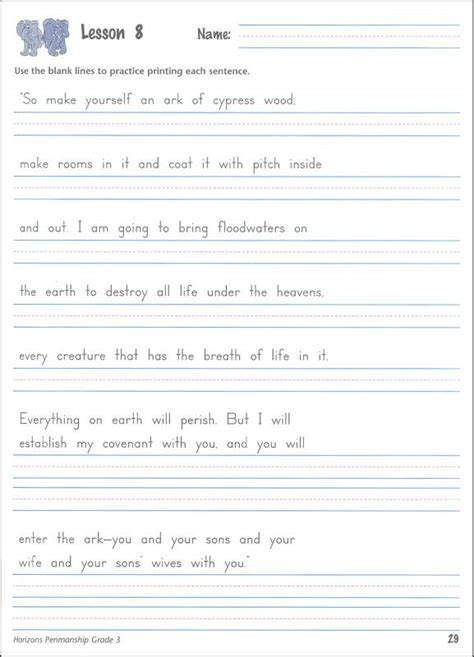 printable handwriting worksheets grade 3 handwriting help for 6th graders horizons penmanship