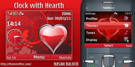nokia x2 heart themes clock with hearth nokia c3 x2 01 theme themereflex