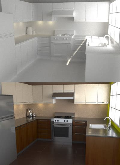 tutorial yafaray blender model texture and render a photo realistic kitchen in