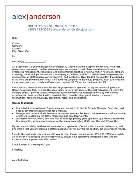 cover letter exle for hospitality manager cover letter tips exles cover