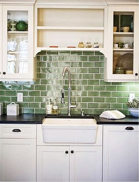 green subway tile backsplash in white kitchen fres hoom