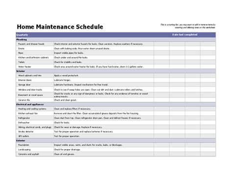 home maintenance service plans home maintenance schedule office templates