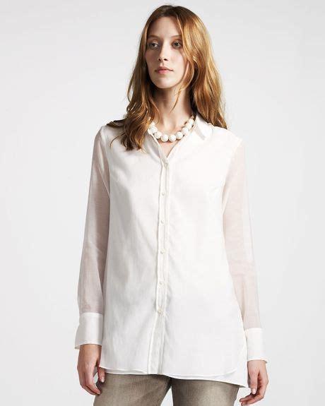 white sheer silk blouses for women brunello cucinelli sheer silk blouse in white lyst