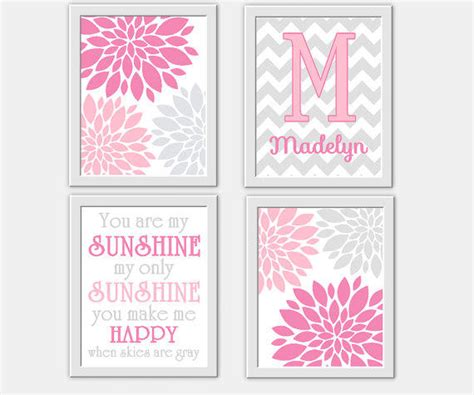 Baby Girl Nursery Wall Art Pink Gray You From Pink Nursery Wall Decor