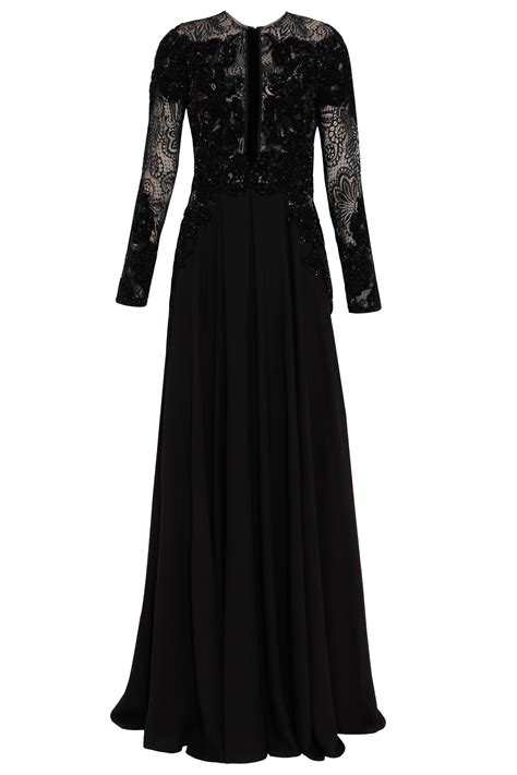 beaded ls elie saab neck beaded gown in black lyst