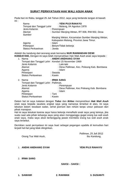 format surat kuasa wali nikah surat pernyataan hak wali asuh anak documents
