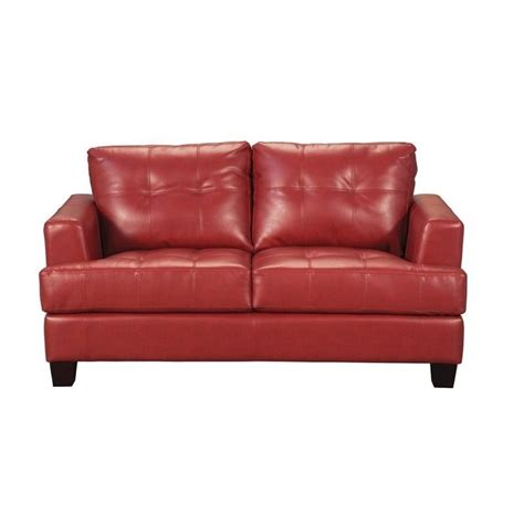 red leather loveseats coaster samuel modern tufted leather loveseat in red 501832