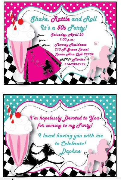 Grease 50s Personalized Invitation Thank You Card And Double Sided Envelope Moms 60th Grease Invitation Template