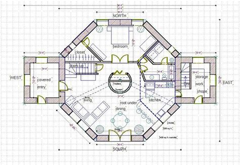 octagon cabin floor plans straw bale house plan 1800 sq ft ground level home