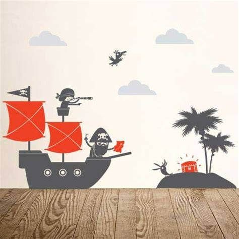 pirate ship wall stickers bedroom ahoy ships pirate wall decals