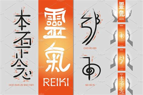 reiki symbols illustrations creative market