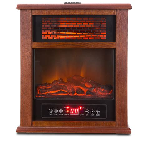 2 in 1 portable infrared zone electric fireplace quartz