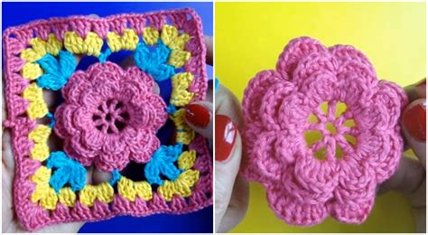 Square Flowy Motif 4 crochet square flower motif step by step ilove crochet