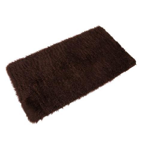 fluffy rugs b m gt fluffy rug 70 x 130cm brown 2530593