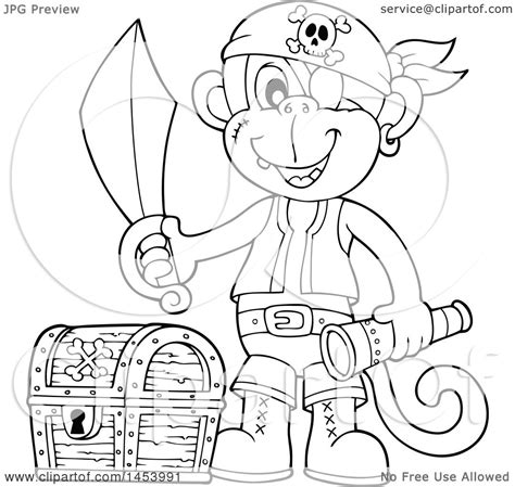 monkey pirate coloring pages clipart of a black and white lineart monkey pirate holding