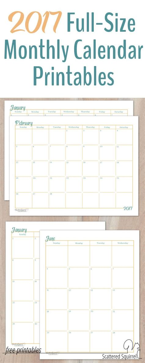 calendar month layout 2017 full size monthly calendar printables are here