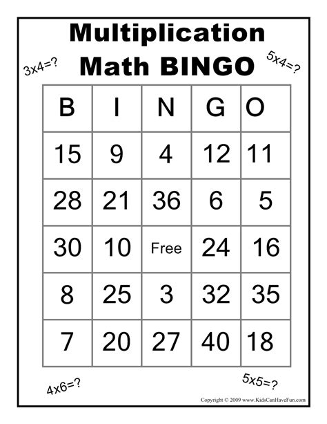 printable games for subtraction multiplication math bingo game http www kidscanhavefun