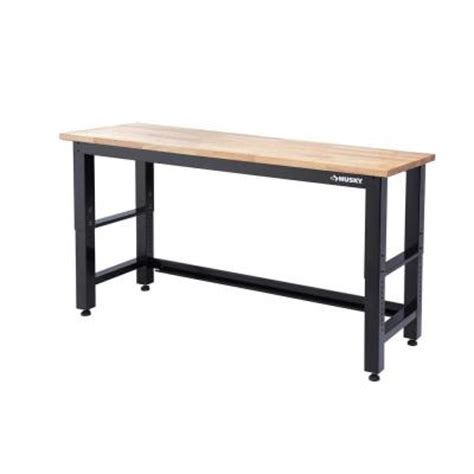 husky 6 ft solid wood top workbench