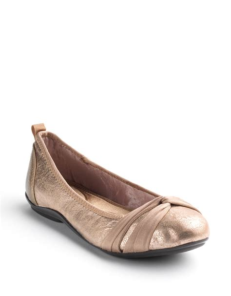 dkny shoes flats dkny suede ballet flats in gold lyst