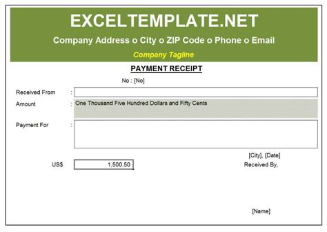 receipt of payment email template payment receipt excel templates