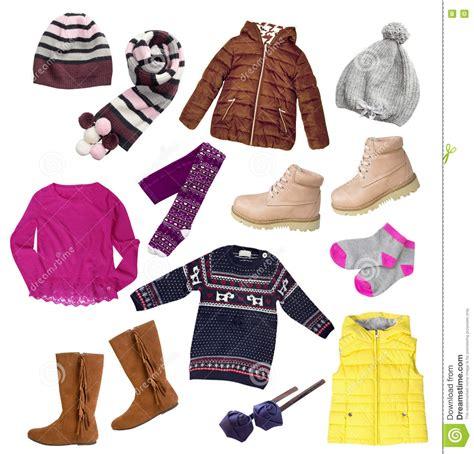 image clothing child winter autumn clothes set isolated stock image