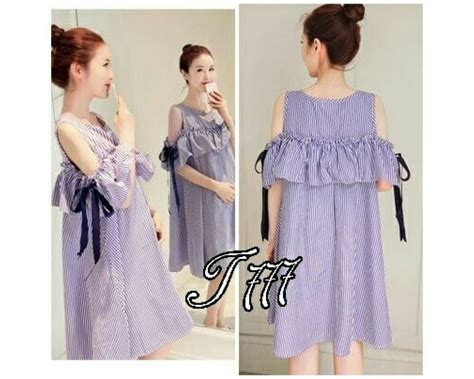 Baju Dress Wanita Navy baju korea dress salur pita navy