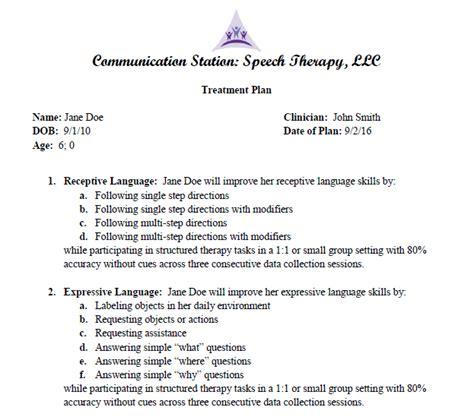 Speech Pathology Treatment Plan Template