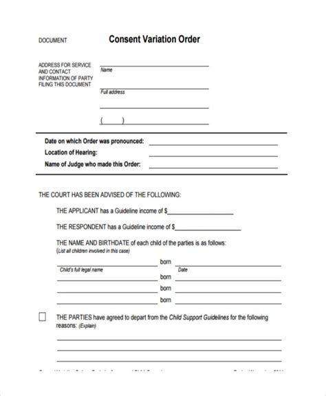 consent order form 8 consent order forms free sle exle format